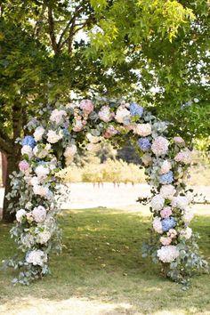 Hydrangea wedding arch: http://www.stylemepretty.com/2017/05/02/whimsical-sonoma-valley-ranch-wedding/ Photography: Brooke Beasley - http://brookebeasleyphotography.com/