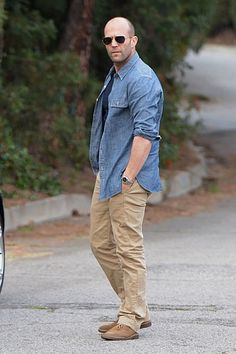 Jason Statham looks fashionable and functional with this outfit.