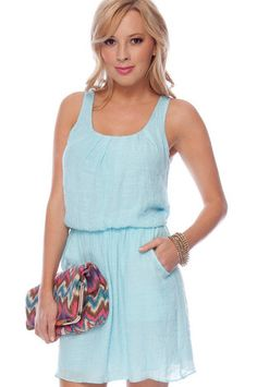 Really cute stuff at this site!  Jasmine Linen Dress in Sky Blue $43 at www.tobi.com