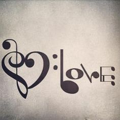 Cool idea. But I would only get the word love without the base and treble cleff heart.
