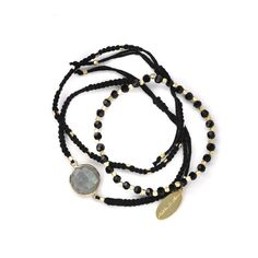 FEATHER & STONE Bali Multi Bracelets (2.820 RUB) ❤ liked on Polyvore featuring jewelry, bracelets, accessories, fillers, joias, black, stone jewelry, friendship bracelet, feather bangle and black bangles