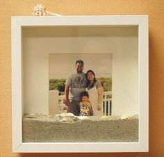 beach shadowbox, add a pic of friends/family, shells, sand and little shrinky dinks as a memory