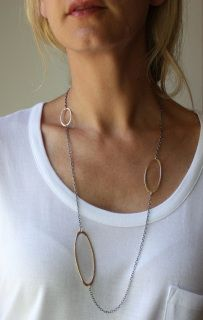 """31"""" long oxidized sterling silver chain with hand textured gold fill ovals necklace from Marja Germans Gard"""