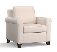 Cameron Roll Arm Upholstered Armchair, Polyester Wrapped Cushions, Performance Heathered Tweed Pebble