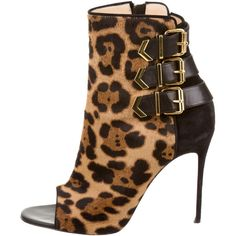 Pre-owned Christian Louboutin Peep-Toe Triboclou ankle booties ($545) ❤ liked on Polyvore featuring shoes, boots, ankle booties, clear, clear boots, christian louboutin booties, peep-toe boots, leopard peep toe booties and leopard print boots