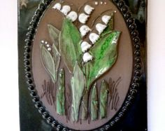 Lily-of-the-Valley from Sweden / Wall Plaque, Ceramic Wall Tile, Art Tile, Wall Art Jie Gantofta Sweden, Ceramic Wall Tiles, Tile Art, Lily Of The Valley, Wall Plaques, Sweden, Flora, Pottery, Handmade, Ebay