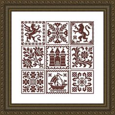 Nine Designs Squares Chart Patterns from Le by LenaCrossStich