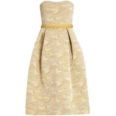 Nevis strapless jacquard dress Mary Katrantzou MATCHESFASHION.COM ❤ liked on Polyvore featuring mary katrantzou