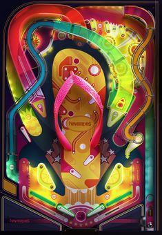 Authorial design of Havaianas.The mold was made based on a real pinball machine, which allows the creation of a project