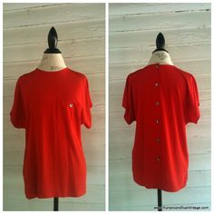 Vintage RED Oversized Shirt by Liz by runaroundsuevintage on Etsy, $24.00