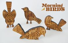 << Bird silhouettes with textured/patterned body.