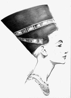 #nefertiti #fashionillustration #fineart #pencildrawing  www.graciatenorio.com                                                                                                                                                                                 More