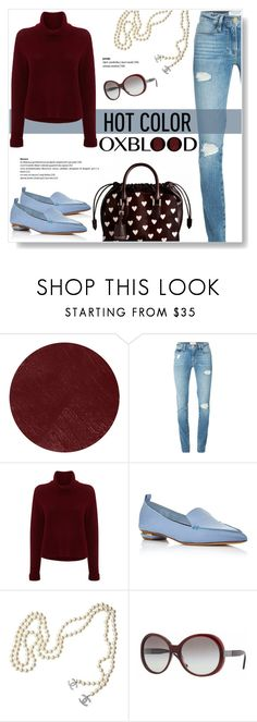 """""""Hot Color Trend: Oxblood"""" by viola279 ❤ liked on Polyvore featuring Burberry, Frame, 360 Sweater, Nicholas Kirkwood and Chanel"""