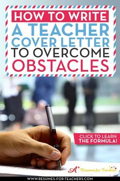 There are many possible situations where you will need to write a teacher cover letter to overcome obstacles, which can be more complicated than a regular letter of introduction. These conditions can include layoffs, demotions, long-term unemployment, gap Application Letter For Teacher, Cover Letter Teacher, Cover Letter Sample, Cover Letters, First Year Teaching, Teaching Jobs, Writing Jobs, Resume Writing, Letter Writing