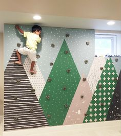 How to build a kids rock wall Are you feeling a little ambitious today? Let's take on a somewhat simple project to liven up that finished basement or kids playroom. Today we will be installing a kids rock climbing wall! Let's start off with our materials list. Materials needed: A plain old boring wall. #SimpleShapes
