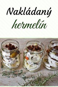 Nakládaný hermelín » MlsnáVařečka.cz Healthy Snacks, Pesto, Hamburger, Food And Drink, Pudding, Easy, Health Snacks, Healthy Snack Foods, Custard Pudding