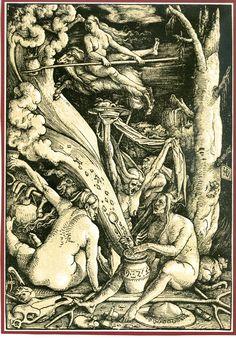 Hans Baldung Grien, Hexensabbat. Farbholzschnitt