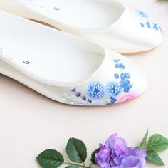 Hand-painted Wedding Shoes for unique brides Blue By Betsey Johnson, Wedding Flats, Hand Painted Shoes, Flower Prints, Blue Flowers, Shoe Painting, Pumps, Fitness, Dress