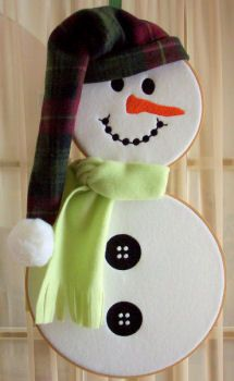 Embroider & Sew :: Wooden Hoop Snowman Project - Embroidery Garden In the Hoop Machine Embroidery Designs
