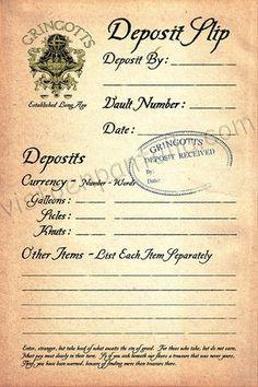 Recibo de Depósito Banco Gringotts. Harry Potter