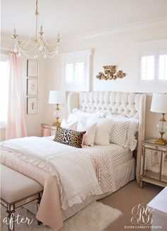 Pink and gold bedroom with tufted wingback headboard by Randi Garr . - Pink and gold bedroom with tufted wingback headboard by Randi Garrett Desig … - Dream Bedroom, Home Decor Bedroom, Bedroom 2018, Bedroom Wall, Surf Bedroom, Bedroom Inspo, Budget Bedroom, Pretty Bedroom, Cozy Bedroom
