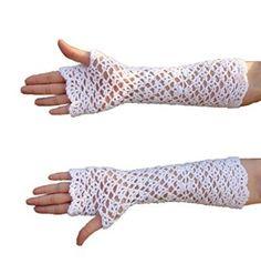 elbow length long crochet fingerless gloves white wedding mittens
