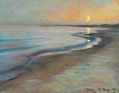Peder Severin Krøyer (1851- 1909) Skagen Strand. Aften 13. August, 1899
