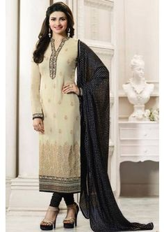 couleur crème georgette churidar costume, - 92,00 €, #ModeBollywood #LaModeExclusive #ChuridarPasCher #Shopkund