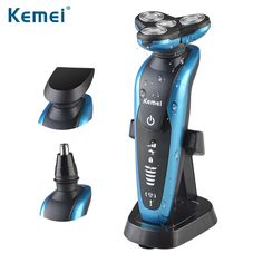 Kemei 3 in1 Washable Rechargeable Electric Shaver Triple Blade Electric Shaving Razors Men Face Care 3D Floating #Affiliate
