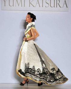 Elegant Japanese wedding dress designer Yumi Katsukra at New York Bridal