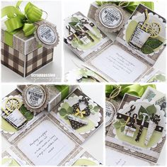 Papiery i stempel na tagu- Lemonade Exploding Boxes, Place Cards, Gift Wrapping, Place Card Holders, Diy Crafts, Gifts, Scrapbooking, Image, Bag