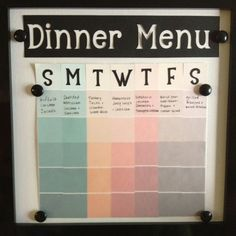 Easy, updatable menu planner and display! Featuring black Sleek Everyday Display Board! (also featuring paint chip samples and vellum) Such an easy, beautiful project!!