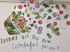 Lunch lady appreciation board.  Each piece if salad has a handwritten note from administration and teachers!