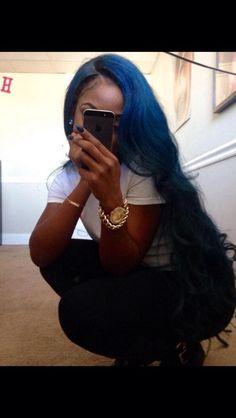 I loveee blue hair! Love Hair, Gorgeous Hair, Big Chop, Black Girls Hairstyles, Pretty Hairstyles, Hair Colorful, Curly Hair Styles, Natural Hair Styles, The Maxx