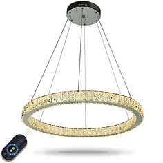 Dimmable LED Ring Ceiling Light Pendant Lights Modern Chandeliers Lighting Indoor Lamp with Remote Control