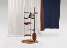 Jiyoun Kim Studio presents the 'Three Poles Collection', a modern cat tower that has multiple places for cats to play or relax. Modern Contemporary Homes, Modern Interior, Interior Design, Cat Tree Designs, Tower Design, Pet Furniture, Higher Design, Design Moderne, Design Firms