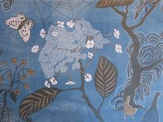 Marthe Armitage wallpaper hand printed with lino blocks in 2 colors