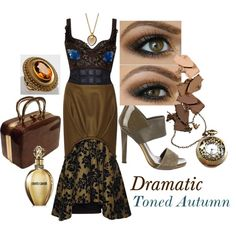 Dramatic Toned Autumn by prettyyourworld on Polyvore featuring Mary Katrantzou, Gucci, Arena CPH and Roberto Cavalli