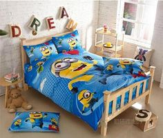 Best 2015 100%cotton Minion Bed Sets For Adult Children Bed Linen With Duvet Cover/Bed Sheets Kids Cotton Bedding Single Twin Size Under $16.97 | Dhgate.Com