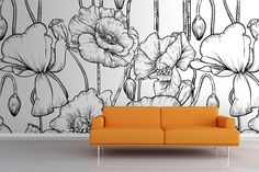 Black and White Illustrated Flowers Mural