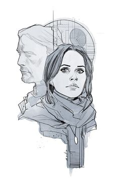 'Stardust' by Phil Noto, inspired by 'Rogue One: A Star Wars Story'. Phil Noto, Geeks, Star Wars Zeichnungen, Rogue One Star Wars, Star Wars Drawings, Star Wars Personajes, Star Wars Tattoo, Star War 3, Death Star