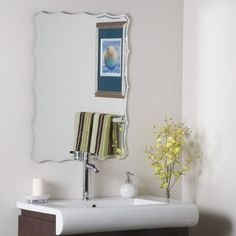 "Decor Wonderland 31.5"" H x 23.6"" W Frameless Ridge Wall Mirror $102 (powder)"
