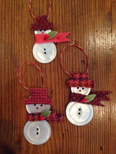 Knitionary: button snowmen, a tutorial . Knitionary: button snowmen, a tutorial More. Christmas Buttons, Christmas Ornaments To Make, Christmas Crafts For Kids, Christmas Projects, Kids Christmas, Handmade Christmas, Holiday Crafts, Christmas Decorations, Button Ornaments Diy