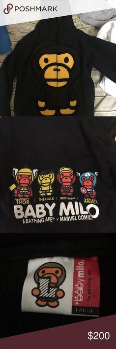 2ad9f9a2 Marvel X Bape Full Zip Jacket Marvel X Bape collaboration full zip jacket.  only released in Japan m. baby milo full zip up. Sz L Bape Tops Sweatshirts  & ...