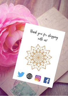 Mandala Print, Mandala Design, Thank You Card Template, Thank You Cards, Business Branding, Business Design, Thank You Customers, Social Icons, Card Reading
