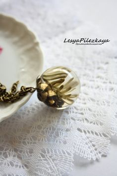 Globe pendant of crystal resin with a cone and by LesyaPilezkaya