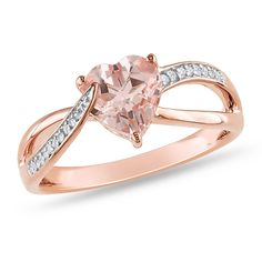 Sterling Silver, Rose Rhodium Plated, Diamond and Morganite Ring