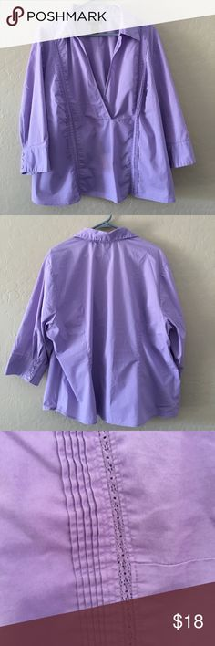Lane Bryant Lavender Blouse GUC Lane Bryant lavender blouse.  This blouse is a size 22/24 with 3/4 sleeves. It has a v-neck/faux-wrap and pintuck with lace details on the front. Lane Bryant Tops Blouses