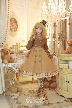 Cute Kawaii Brown Lolita Dress and Hat / Lolita Girl / Fashion Photography / Cosplay // ♥ More at: https://www.pinterest.com/lDarkWonderland/