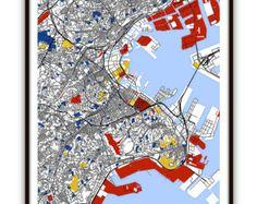 Kobe Map Art / Kobe Japan Wall Art / Print / by MondrianMapArt